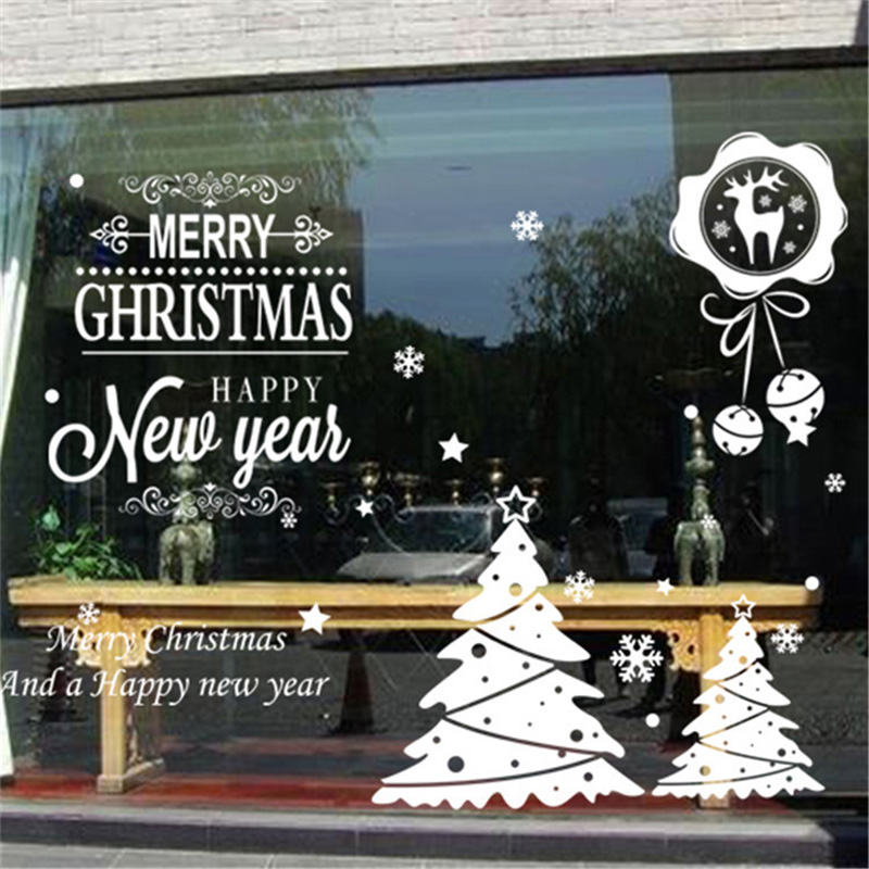 50x70cm 2019 Merry Christmas Decorations for Home New Year Shop Glass Window White Deers Bell Decorative Stickers Navidad Natal  (4)