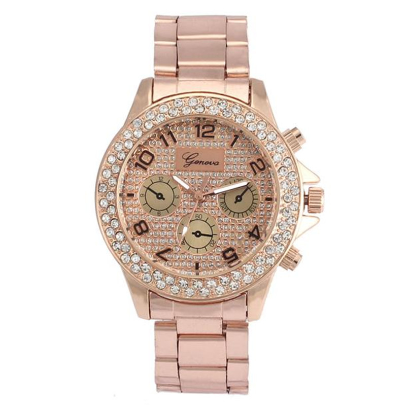 High Quality Women Watches Gold Fashion Luxury Rhinestone Crystal Stainless Steel Quartz Analog Watch Relogio Feminino Bets Gift ...