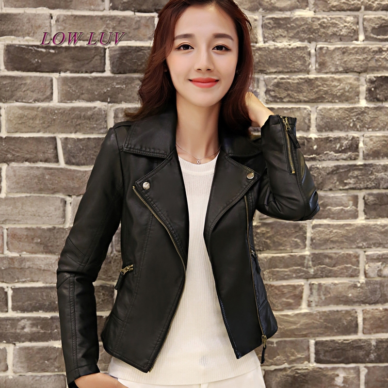 Ms. short paragraph PU   leather   motorcycle jacket zipper pocket sexy punk jacket casual jacket coat Ms.