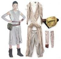 Children Star Wars Rey Princess Cosplay Costume Movie Force Awakens Halloween Cosplay Costume For Kids Party