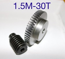 цена на 1Set 1.5M-30T Reduction Ratio:1:30  45Steel Worm Gear Reducer Transmission parts Wore Gear Hole:10mm  Rod Hole:10mm