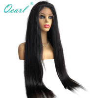 Super Long Length Lace Front Wigs 2426283032Human Hair Thick Density Lace Wig Straight Brazilian Remy Hair Black 13x4 Qearl