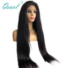 "Super ยาวลูกไม้ด้านหน้า Wigs 24 ""26"" 28 ""30"" 32 ""Human Hair ความหนาแน่นวิกผมลูกไม้บราซิล Remy ผมสีดำ 13x4 Qearl"
