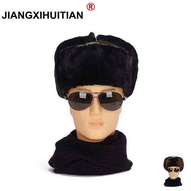 26a25eea96c79 2018 Hot Russian Hat Ushanka Bomber Hat Army Military Caps Mens Winter Hats  Ear Flaps Chapka Russe Homme Gorro Ruso Men Fur Hats