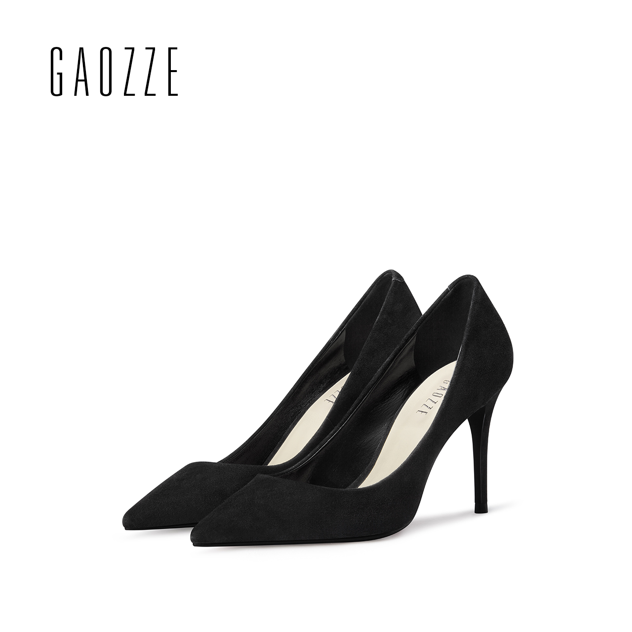 GAOZZE Sheep suede pointed toe high heels pump shoes female black office shallow mouth women shoes brand 2017 spring summer 2017 spring and summer new women s shoes female pointed shallow mouth slope with high heel shoe side empty leather woman s shoes