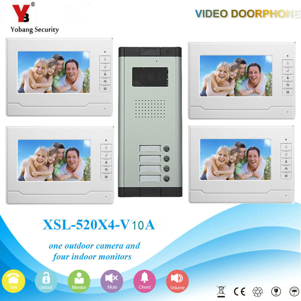YobangSecurity Video Intercom 7Inch Wired Video Door Phone Doorbell Intercom Monitor Camera Bell System For 4 Units Apartment yobangsecurity wired video door phone intercom 7inch lcd video doorbell camera system 2 camera 2 monitor for apartment house