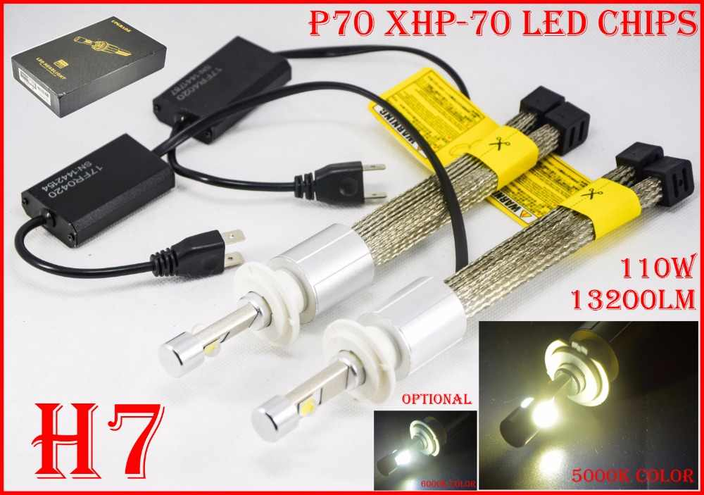 1 Set H7 110W 13200LM P70 LED Headlight Headlamp XHP-70 Chip Fanless 12/24V Car Driving Fog Bulb Yellowish 5K Super White 6K H11