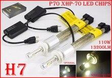 1 компл. H7 110 Вт 13200LM P70 светодиодные фары XHP-70 чип безвентиляторный 12/24 В вождение автомобиля туман лампы желтовато-5 К Super White 6 К H11