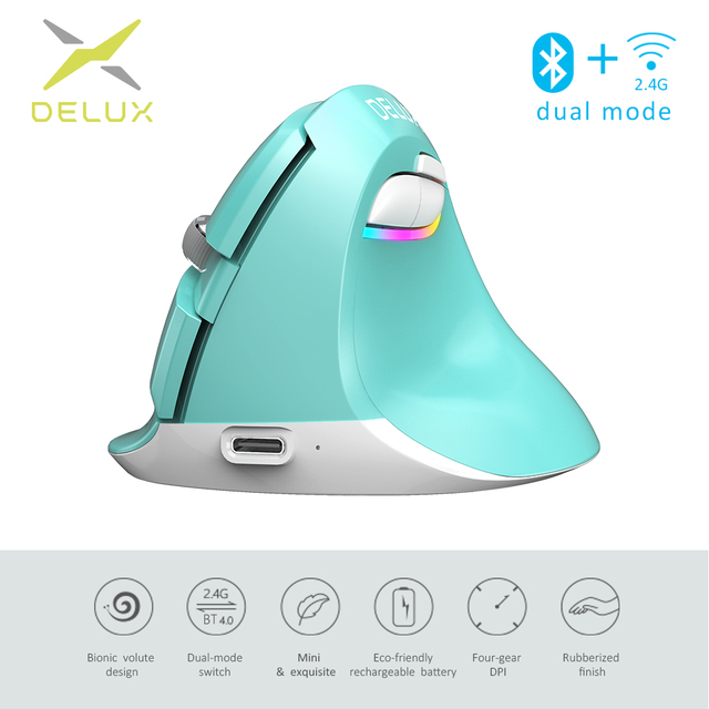 Delux M618 Mini Gaming Wireless Mouse Ergonomic Vertical Mouse Bluetooth 2.4GHz RGB Rechargeable Silent click Mice for Office
