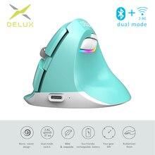 Delux M618 Mini Gaming bezprzewodowa mysz ergonomiczna mysz pionowa Bluetooth 2.4GHz RGB akumulator Silent click myszy dla biura