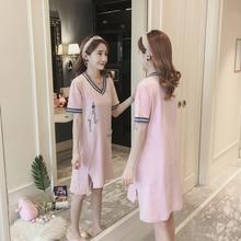 Women Pure cotton Nightgowns Sleepshirts 2019 summer Home Dress letter Sleepwear Loose Nightdress Indoor Fashion Clothes недорого