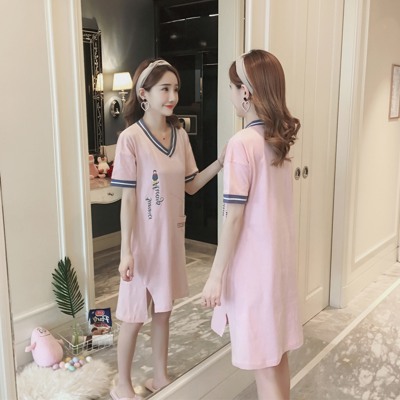 Women Pure cotton   Nightgowns     Sleepshirts   2019 summer Home Dress letter Sleepwear Loose Nightdress Indoor Fashion Clothes