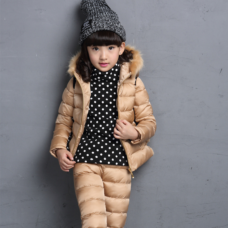 Children's Clothing Girl's Clothes New Year Dress Baby Kids  Winter Cotton Thickened  Girl Three Piece Suit Children In Leisure 2015 winter clothes new high end brand children s clothing exquisite lace flower adornment waist thickened
