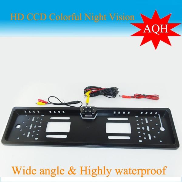 imágenes para Cámara de marcha atrás HD CCD matrícula Europea UE universal cámara de visión trasera sistema de ayuda al aparcamiento inversa de copia de seguridad trasero
