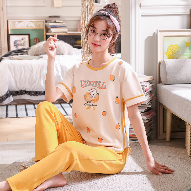 2020 New Women Pajamas Sets Spring Short Sleeve Cartoon Print Cute Sleepwear Girl Pijamas Mujer Leisure Nightgown Adult Clothes