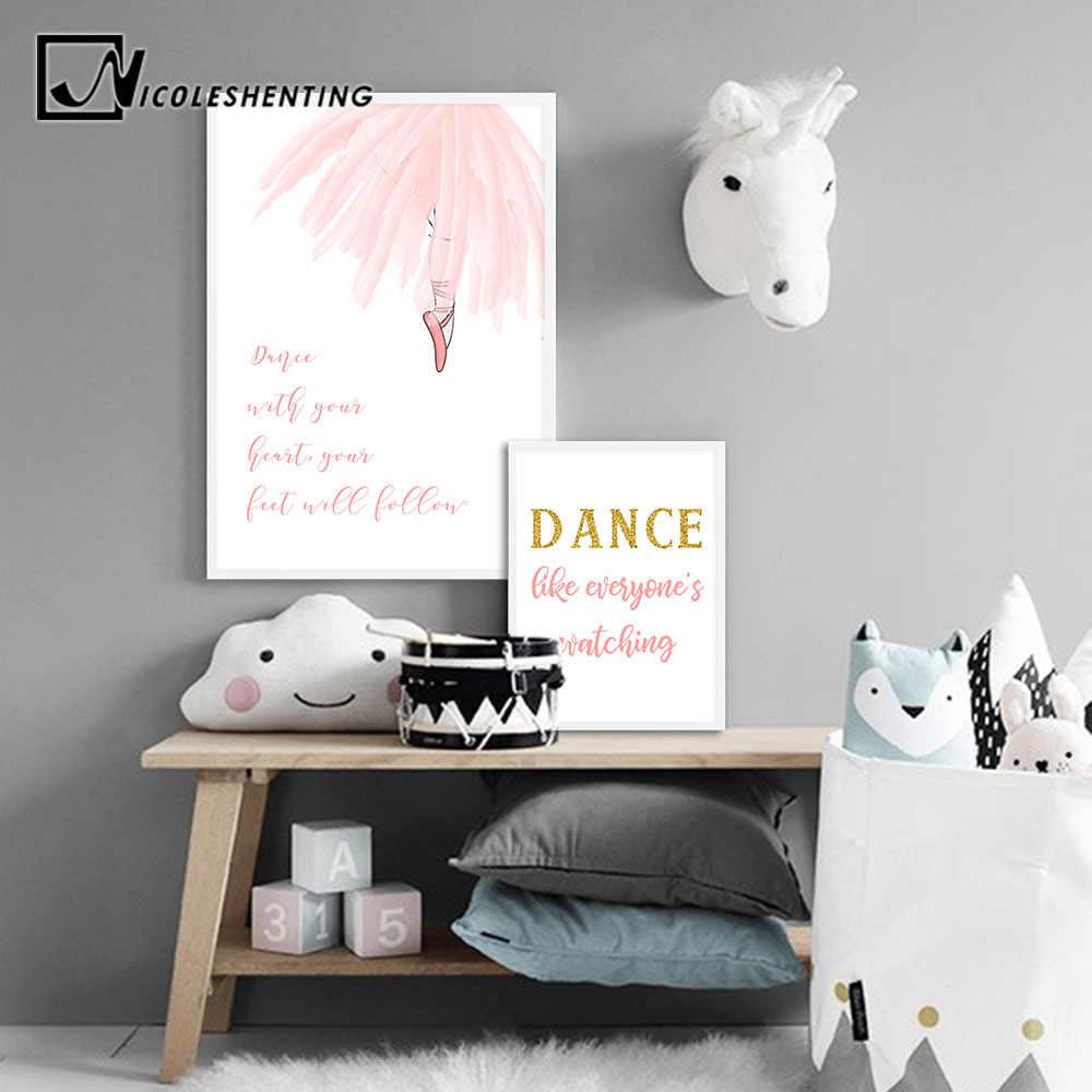 Настенная живопись садик Постеры-холсты для маленьких девочек, балерина, танцевальные принты, мультяшная живопись, скандинавские украшения для детей, картина, декор для спальни