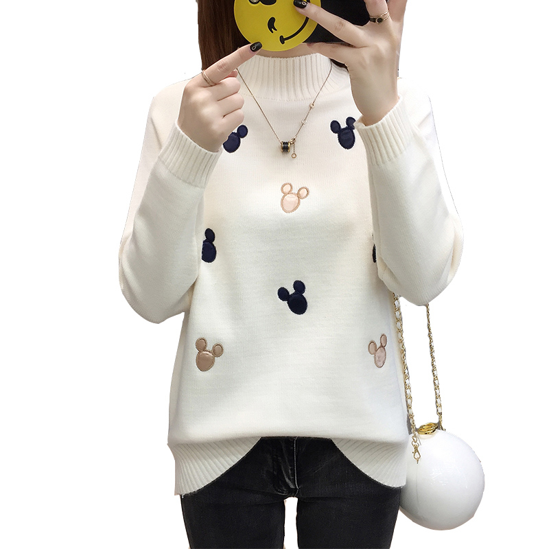 Fashion New Knitted Sweater Women Pullover Autumn Winter Tops Korean Cartoon Cute Sweater Women Long Sleeve Loose Jumpers Ladies