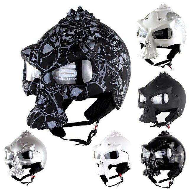 DOT Skull Motorcycle helmet Retro half face helmets Motorbike Capacete Moto Cascos Racing Armet
