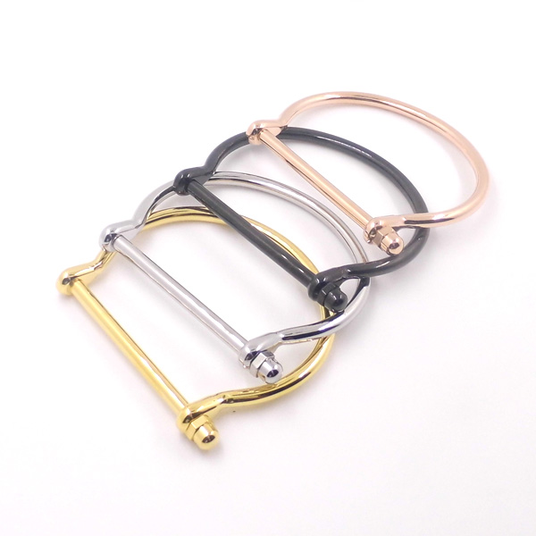 New Cool Punk Cuff Bracelets 18k Gold Navy Rectangle Anchor Hook Horseshoe Buckle Bracelet Bangle Fashion Jewelry In Bangles From