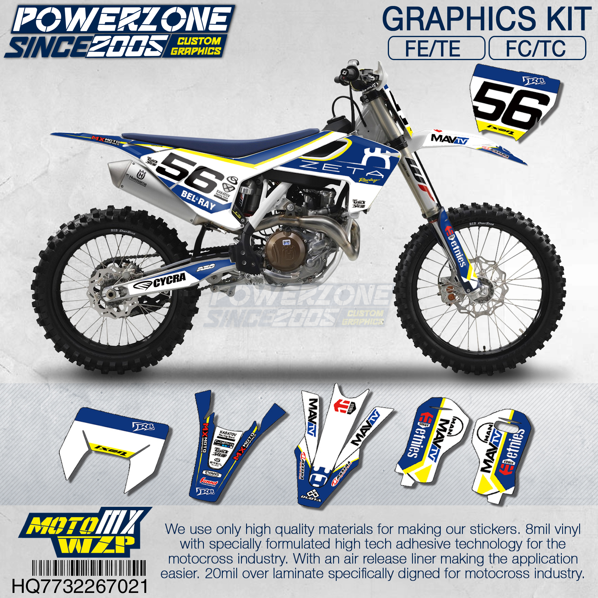 Customized Team Graphics Backgrounds 3M Decals Custom Stickers Kit For Husqvarna 2014 15 16 18 FE