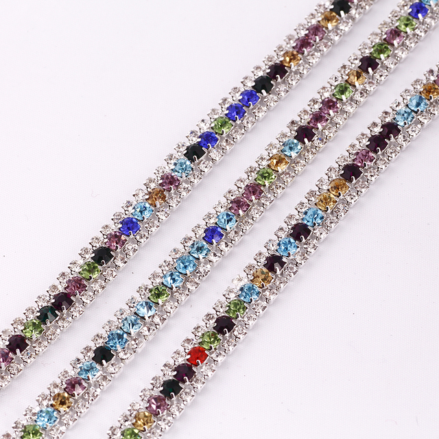 1 yard 3 Rows Crystal +mix color Rhinestone Cup Chain Silver Base With Claw  Dress Decoration Trim Applique Sew on Garment Bags 21e0409f2de7
