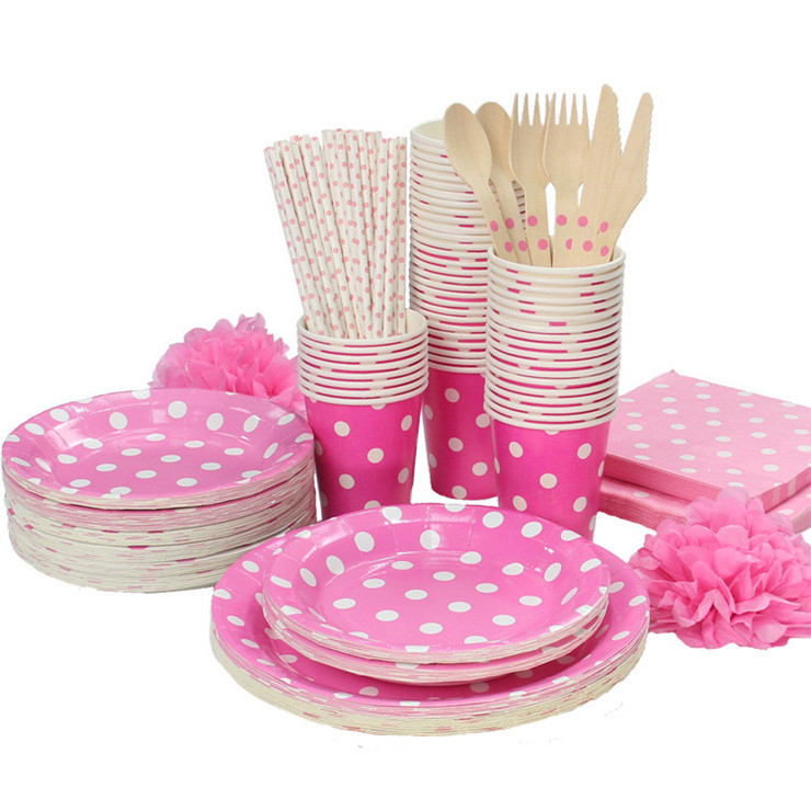 655pcslot dinnerware set party dot tableware paper plates cup straw knifespoon tablecloth wedding birthday decoration - Decorative Paper Plates