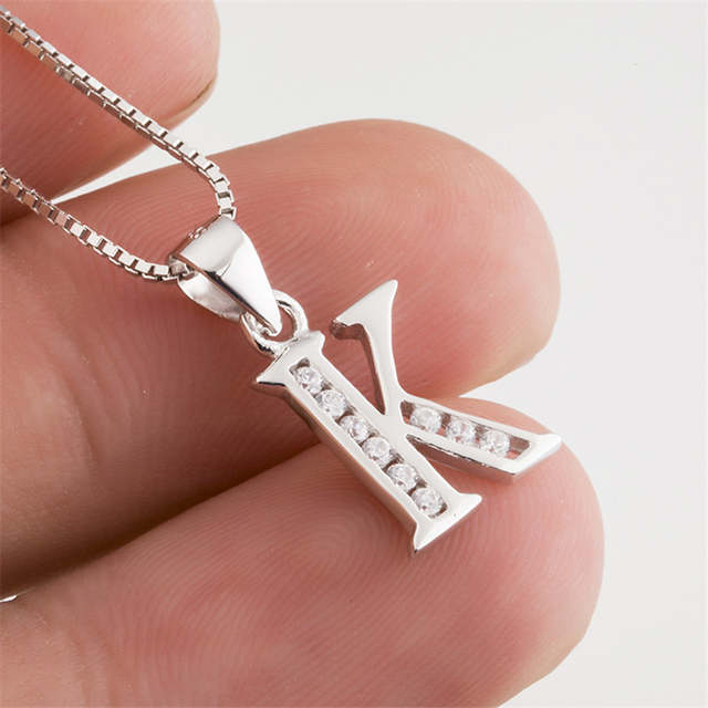 placeholder Genuine 925 Sterling Silver Necklace Women Initial Pendant  Crystal Letter K Necklaces Pendants Inlaid with CZ