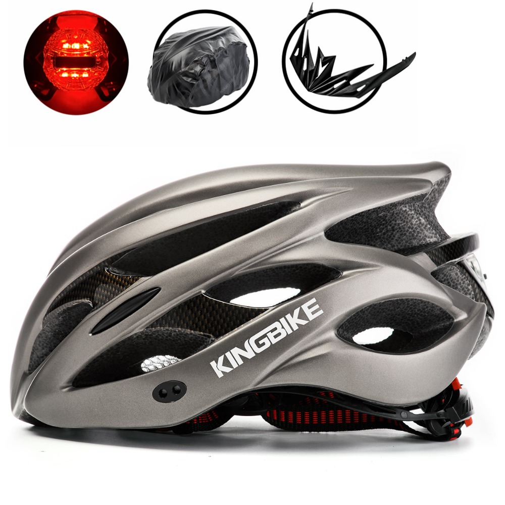 KINGBIKE Women Men Cycling Helmet Bike Bicycle Helmet Road Mountain With Visor MTB Bike Helmet Security Taillight casco ciclismo moon upgrade cycling helmet road mountain mtb bike bicycle helmet with insect net 52 64cm casco ciclismo