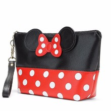 New Woman Organizer Travel Portable Bow tie PU  Minnie Mickey Cosmetic Bag Fashion Makeup Female bag Toiletry Purse
