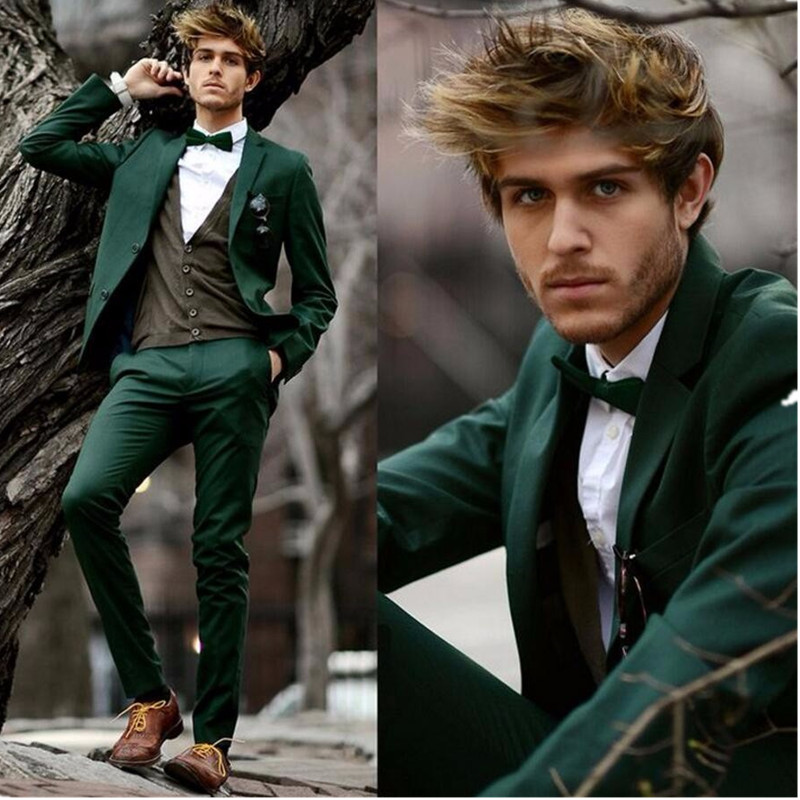 The latest wedding mens suit dark green mens Slim version of 2 groom tuxedo single-breas ...
