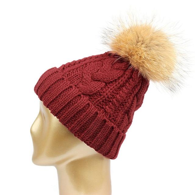 Ladies Luxury Rabbit Fur Hat Winter Caps Warm Pom Pom Hats For Women Wool  Knitted Female cefd6aaf9cf