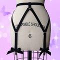 Красивый Сексуальный Черный Лук подвязки Harajuku пастель гот жгут подвязки чулки сексуальное женское белье летом стиль тела кейдж жгут