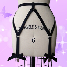 beautiful sexy black bow garter belt harajuku pastel goth harness garter stockings sexy lingerie summer style body cage harness