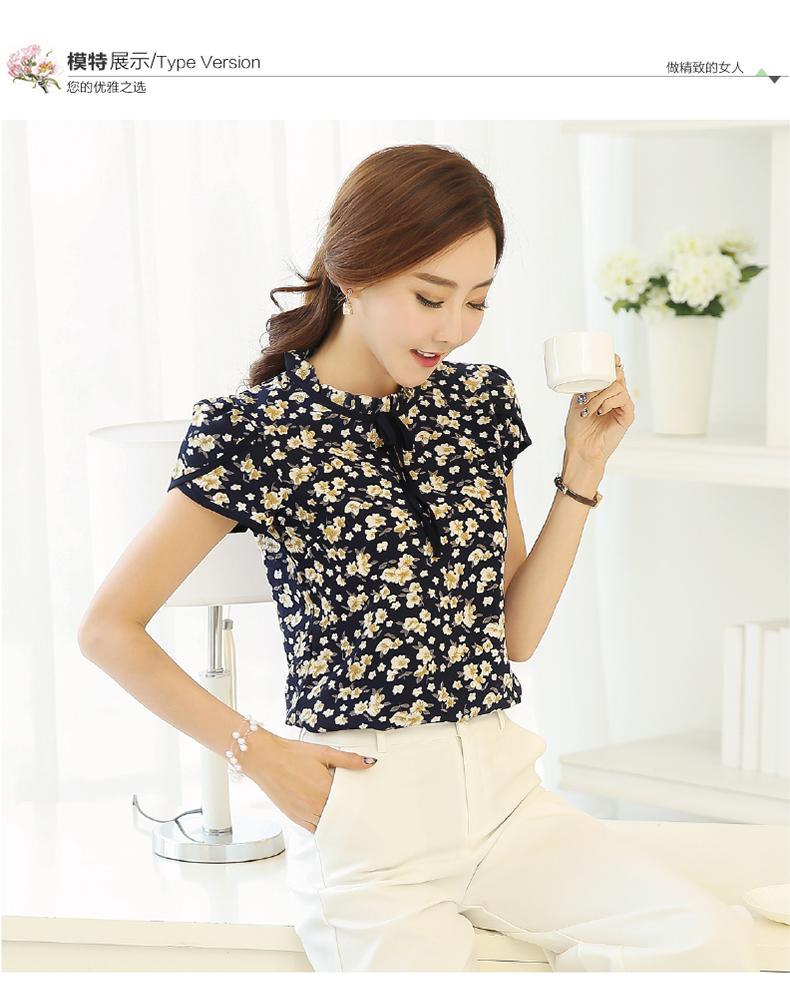 HTB1THuyPVXXXXcHXFXXq6xXFXXXX - Summer Floral Print Chiffon Blouse Ruffled Collar Bow Neck Shirt