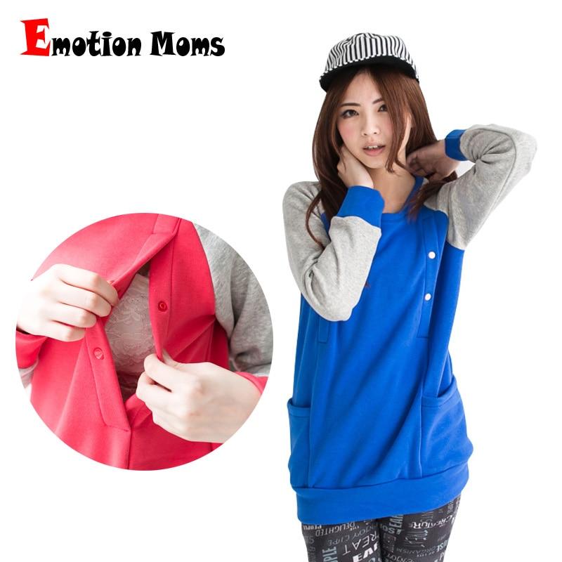 Emotion Moms Winter szülési ruházat Hosszú ujjú ápolási top Szoptatás Tops terhes nők számára Szülési kapucnis pulóver