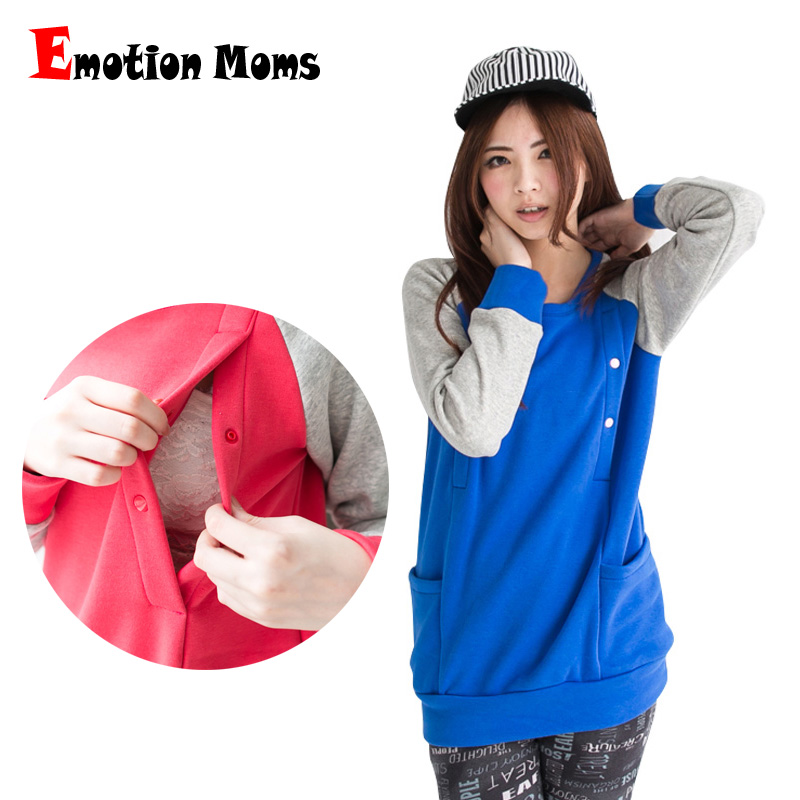 Emotion Moms Winter Maternity Clothes Long Sleeve Top Breastfeeding Tops for pregnant women Maternity Hoodie sweater