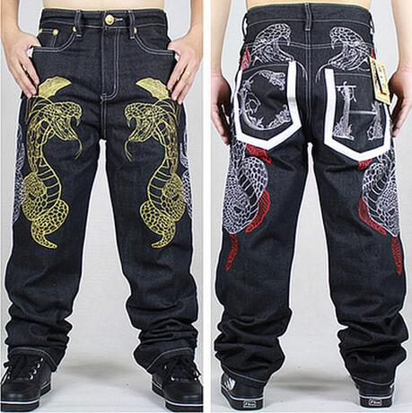 ФОТО Freeshipping !!! 2016 Hot style Hip hop dance HIPHOP trousers gold python embroidery board shorts Male easy cowboy pants / 32-44