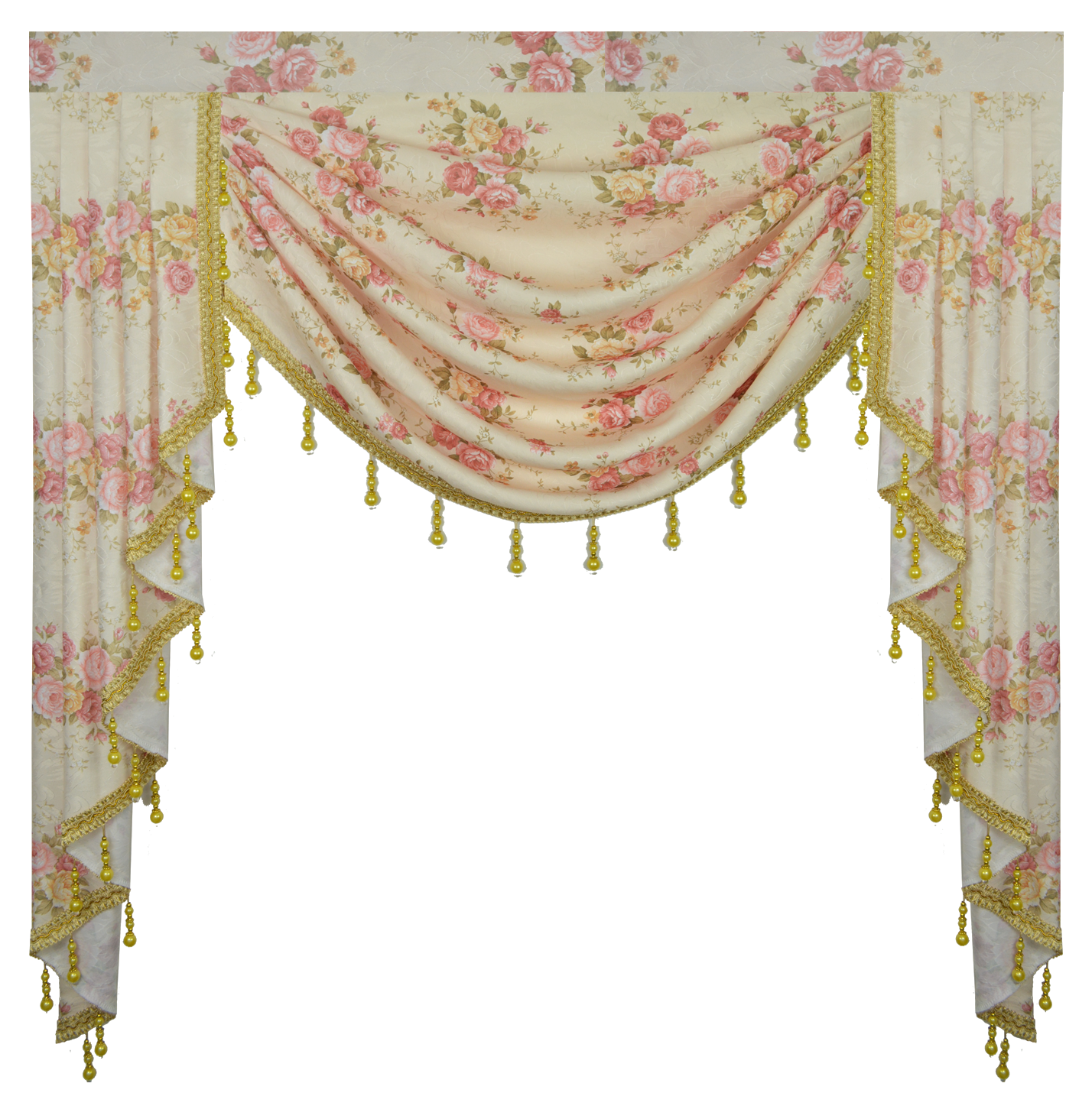 Pink Flower Pastoral Curtains For Living Room Valance Swag Lambrequin For Dining Room Curtains For Bedroom Window Swag Royal
