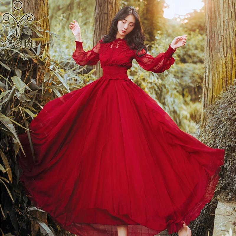 YOSIMI 2019 été en mousseline de soie longue femmes robe rouge col montant à manches longues Vintage Maxi Empire rose dames robe de soirée cheville-longueur