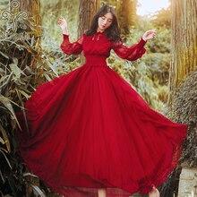 ארוך נשים אדום שמלת