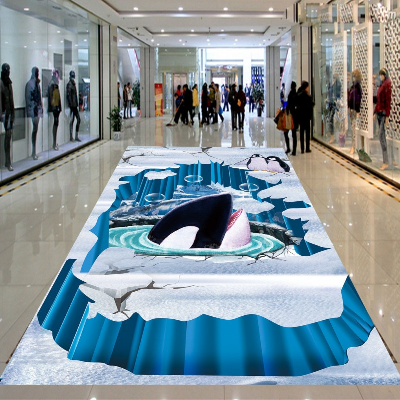 Free Shipping Magic Fierce Shark Penguin 3D floor painting wear non-slip thickened bathroom bedroom living room flooring mural free shipping floating suspension mountain dolphin 3d outdoor floor painting wear non slip bedroom bathroom flooring mural