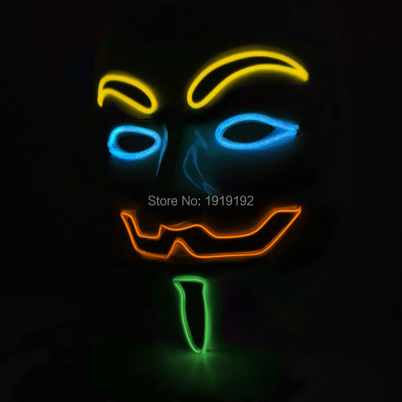 Vroče prodajne zabavne maske EL žica 4-barve Anonymous Guy Fawkes - Prazniki in zabave - Fotografija 6