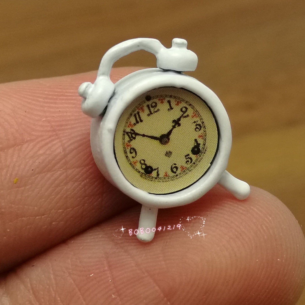 Dollhouse Miniature 1:12 Living Room Metal White Alarm Clock Height 1.5cm SPO466