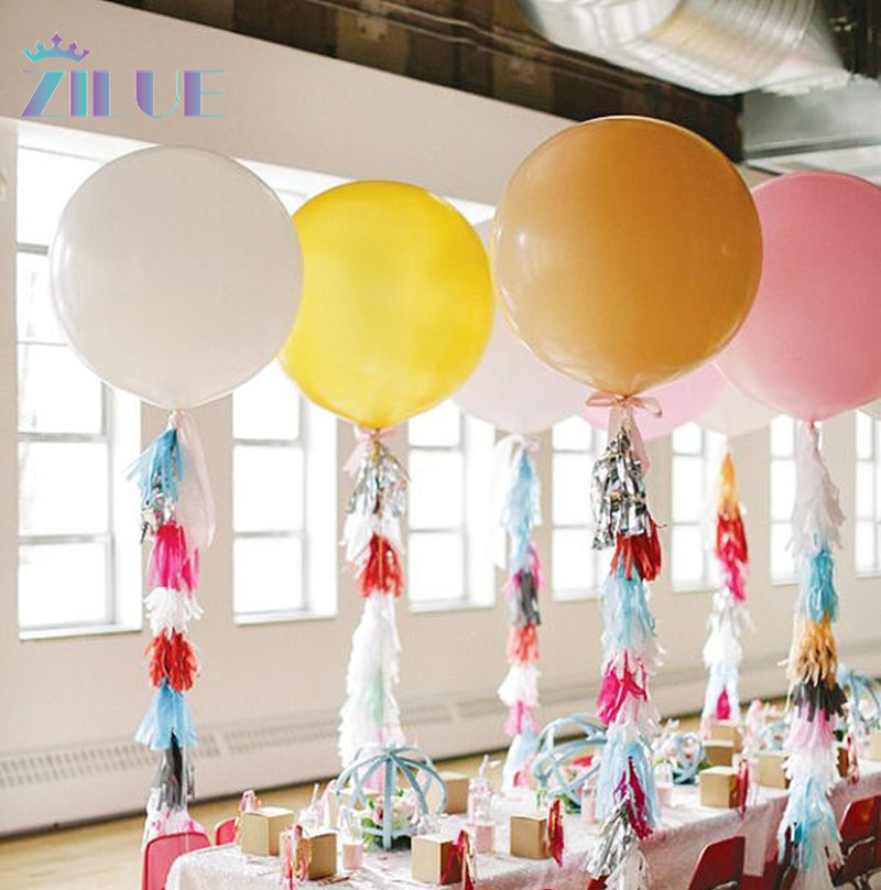 Zilue 10pcs/lot Big Balloon 36inch 90cm Jumbo Giant Latex Balloon Party Wedding Baby shows Birthday Balloons Decoration
