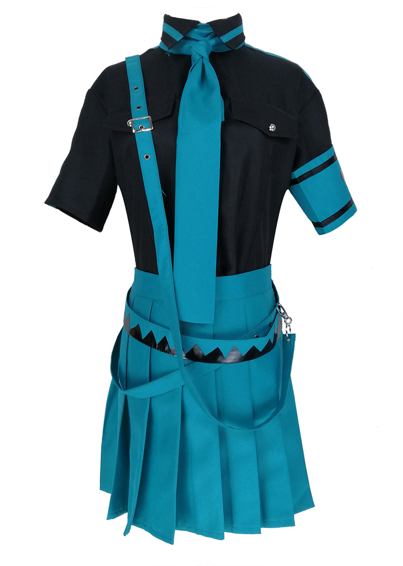 Hot Anime Free Shipping Vocaloid Hatsune Miku Cosplay Costume free shipping vocaloid hatsume miku short green anime cosplay wig 2 x ponytails