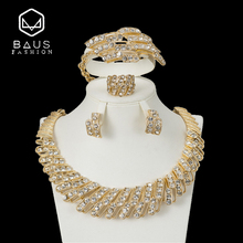 BAUS 2018 Wedding necklace set Dubai Nigeria Arabia Bridal jewelry set gold-color Jewelry sets African Beads Wholesale design fashion african jewelry set yellow plastic blue and crystal nigeria wedding african beads jewelry set free shipping yj 215
