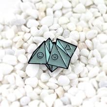 La fortuna esmalte Pin Origami arte Pines de esmalte creativo origami broche alegría tristeza amor memoria de la infancia recuerdo broches