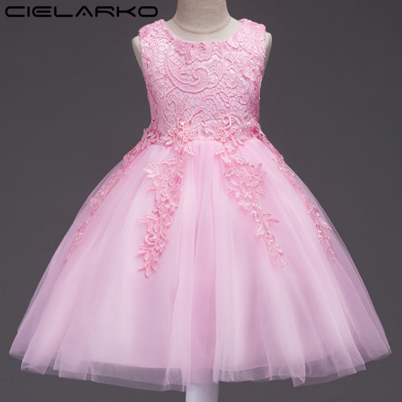 купить Cielarko Girls Dress Christening Baby Lace Dresses Flower Children Wedding Ball Gowns Pageant Kids Party Clothing for Girl дешево