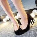 Новизна кисточкой стая Большой размер 46 47 острым носом высокие каблуки женщины туфли на высоком каблуке шпильках почти клуб ну вечеринку обувь бежевый цветок единственным