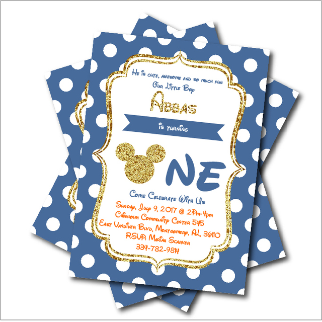 20 pcs/lot Personalized Mickey Mouse Birthday invitations Baby